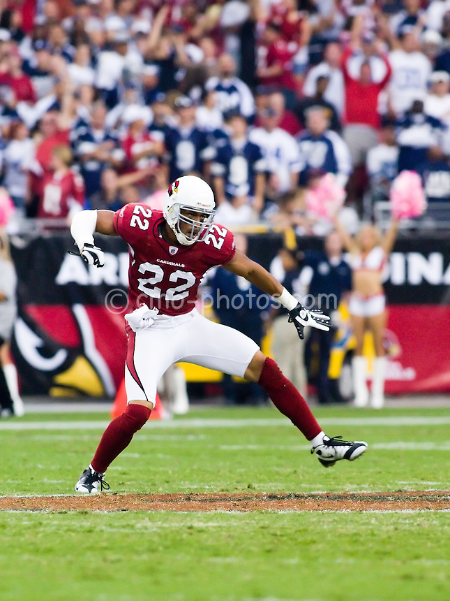 Oct 12, 2008; Glendale, AZ, USA; Arizona Cardinals cornerback Matt Ware (22) celebrates a defensive stop in the fourth quarter of a game against the Dallas Cowboys at University of Phoenix Stadium.  The Cardinals won the game in overtime 30-24.