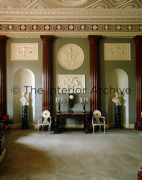 The bold decoration in the grand entrance hall at Harewood House is by Robert Adam and the plasterwork is by Joseph Rose