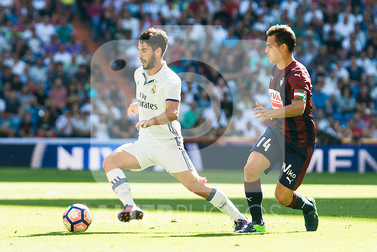 "Real Madrid's player Francisco Roman ""Isco"" and Eibar FC's player Daniel Garcia Carrillo during a match of La Liga Santander at Santiago Bernabeu Stadium in Madrid. October 02, Spain. 2016. (ALTERPHOTOS/BorjaB.Hojas)"