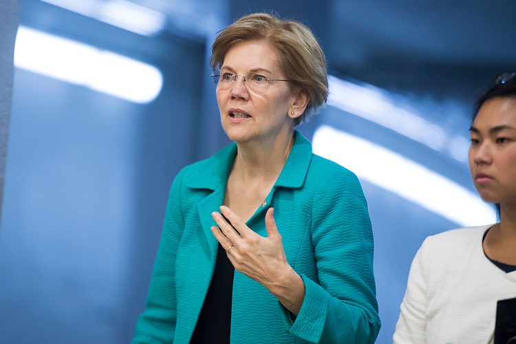 UNITED STATES - JULY 31: Sen. Elizabeth Warren, D-Mass., is seen in the Capitol's senate subway on July 31, 2018. (Photo By Tom Williams/CQ Roll Call)