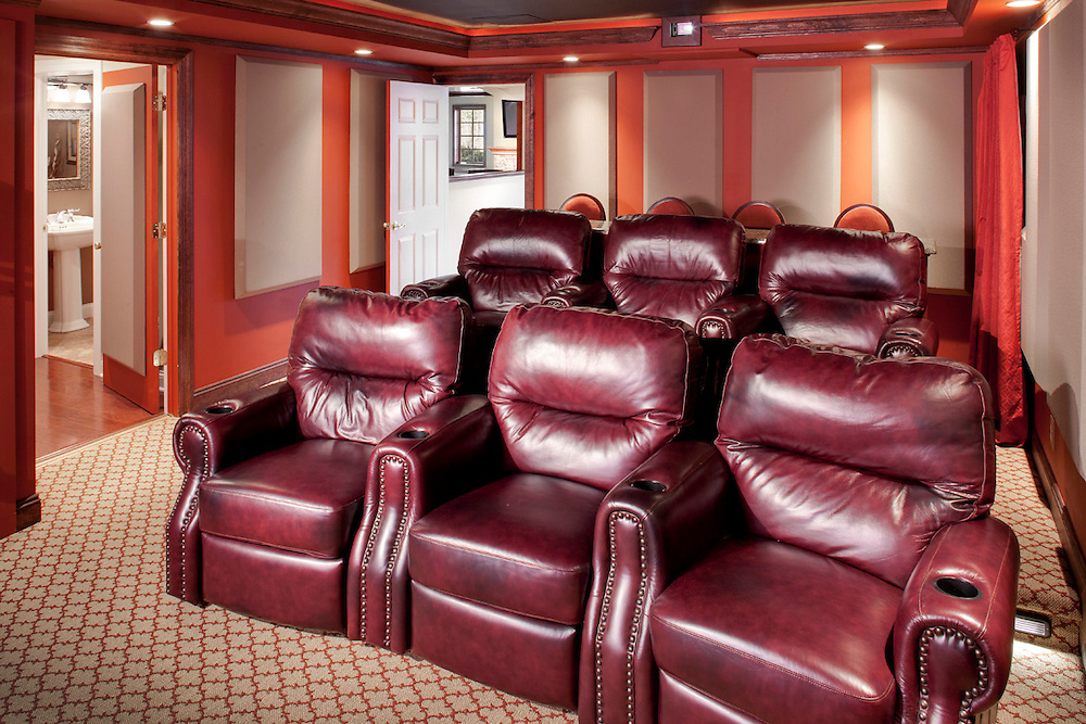 Small Theater With Leather Chairs
