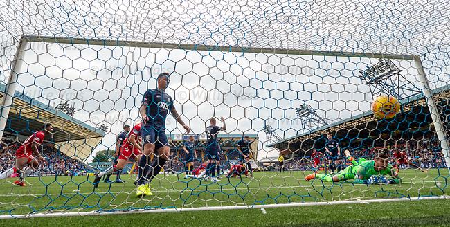 04.08.2019 Kilmarnock v Rangers: Connor Goldson heads in the winner