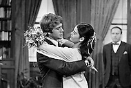 January 1970. American actors Ryan O'Neal and Ali MacGraw during the wedding scene on the movie set of the film Love Story. O'Neal starred as Oliver Barrett IV and MacGraw as Jennifer Cavilerri in the romance written by Erich Segal and directed by Arthur Hiller.