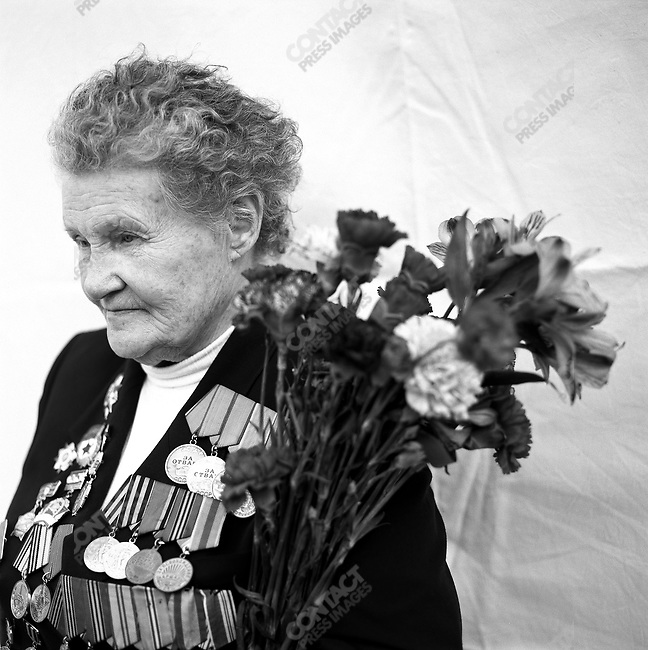 WWII veteran during Victory Day celebrations, Kapitolina Alexandrovna Krivitskaya, b. 1925, Medical Service. Moscow, Russia, May 9, 2009