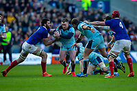 8th March 2020; Murrayfield Stadium, Edinburgh, Scotland; International Six Nations Rugby, Scotland versus France; Stuart Hogg of Scotland is tackled by Jean-Baptiste Gros of France