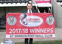 St Mirren Chairman TGordon Scott celebrates after winning the Scottish Professional Football League Ladbrokes Championship at the Paisley 2021 Stadium, Paisley on 14.4.18.