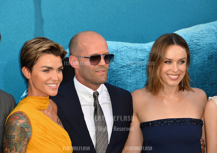 "LOS ANGELES, CA - August 06, 2018: Ruby Rose, Jason Statham & Jessica McNamee at the US premiere of ""The Meg"" at the TCL Chinese Theatre"