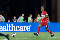 FOXBOROUGH, MA - AUGUST 25: Johan Kappelhof #4 of Chicago Fire passes the ball during a game between Chicago Fire and New England Revolution at Gillette Stadium on August 24, 2019 in Foxborough, Massachusetts.