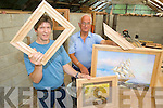 IN THE FRAME: Listowel carpenters Keith Morton and Tony Shields, with some of the unusual hardwood frames they produce at their workshop at Kilmorna.