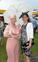 Pictured enjoying the summer fayre on the Ross Hotel / Lane Bar Champagne &amp; Cocktail Marquee at Killarney Races ladies Day on Thursday were from left, Orlaith Griffin, Tralee and Madeleine McCarthy, Tralee.<br /> Picture by Don MacMonagle<br /> <br /> <br /> PR Photo from Ross Hotel
