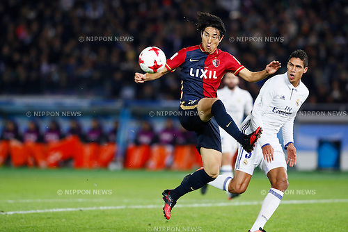 (L-R) Mu Kanazaki (Antlers), Raphael Varane (Real), <br /> DECEMBER 18, 2016 - Football / Soccer : <br /> FIFA Club World Cup Japan 2016 <br /> Final match between Real Madrid - Kashima Antlers <br /> at Yokohama International Stadium in Kanagawa, Japan.<br /> (Photo by Yohei Osada/AFLO SPORT)