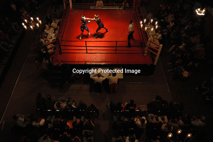 Miguel Alvarrado, left, and Rob Diezel fight during the spring Saturday Night at the Fights held April 14, 2007 at Nile Shrine Center in Lake Ballinger. Diezel won the fight.