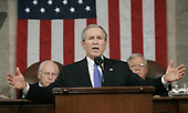 United States President George W. Bush delivers the State of the Union to a joint session of Congress while US Vice President Dick Cheney, left, and House Speaker Dennis Hastert (Republican of Illinois), right, look on at the US Capitol, Tuesday, Jan. 31, 2006 in Washington, DC.<br /> Credit: Pablo Martinez Monsivais / Pool via CNP
