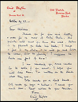 BNPS.co.uk (01202 558833)<br /> Pic: IAA/BNPS<br /> <br /> A letter Blyton wrote to the pupils of the Open Air special school in Barnsley, South Yorks, which had just ordered 12 of her books.<br /> <br /> Enchanting photographs of children's author Enid Blyton with the pet dog that inspired many of her early works have come to light.<br /> <br /> The black and white photos depict Bobs, Blyton's fox terrier who became a celebrity in his own right after she started writing letters from him in the magazine Teacher's World in 1933.<br /> <br /> The signed letter and the picture postcards were sold by International Autograph Auctions of Nottingham for &pound;200.
