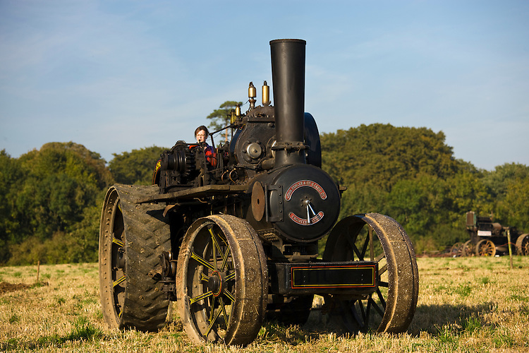 John Fowler steam ploughing engine in country show at Great Barrington, Gloucestershire