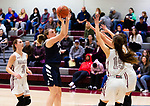 NAUGATUCK,  CT-011820JS02- Shepaug's Abigail Harty (40) puts up a in front of Naugatuck's Brielle Behuniak (3) and over Sara Macary (15) and Alissa McNeil (14) during their non-league game Saturday at Naugatuck High School. <br /> Jim Shannon Republican-American