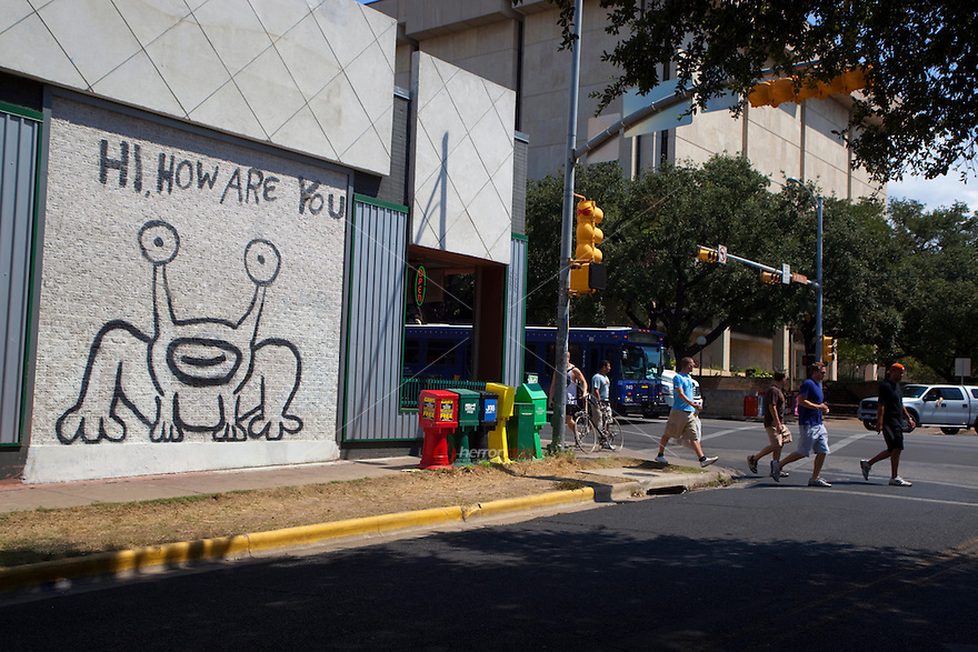 "Daniel Johnston created a notable Austin landmark in 1993, when he painted a mural of the ""Hi, How Are You?"" frog (also known as ""Jeremiah the Innocent"") on the side of Sound Exchange located on the corner of 21st and Guadalupe (The Drag). Locals have successfully endeavored to preserve the image when the building subsequently changed ownership to a Baja Fresh restaurant and more recently to a restaurant called Crave. In Spring 2008, a Jeremiah the Innocent collectible figurine was released in limited runs of four different colors."