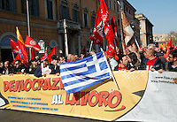 Una bandiera della Grecia alla manifestazione nazionale dei metalmeccanici della Fiom Cgil a Roma, 9 marzo 2012..A flag of Greece is shown at the Italian Fiom Cgi union's metalworkers demonstration in Rome, 9 march 2012..UPDATE IMAGES PRESS/Riccardo De Luca