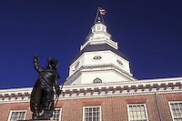 State House, Maryland, State Capitol, Annapolis, MD, Dekalb statue outside the Maryland State House in the capital city of Annapolis.