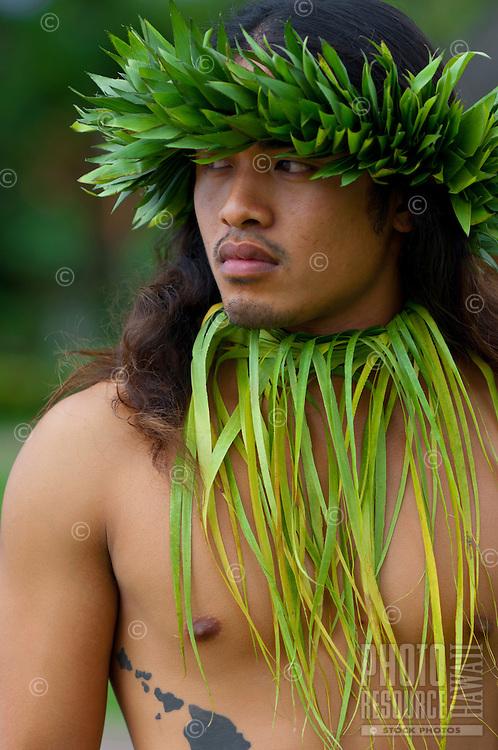 Man in traditional Hawaiian ceremonial wear