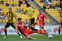 Kenny Cunningham and Nigel Boogaard during the A League - Wellington Phoenix v Adelaide United, Wellington, New Zealand on Sunday 30 March 2014. <br /> Photo by Masanori Udagawa. <br /> www.photowellington.photoshelter.com.