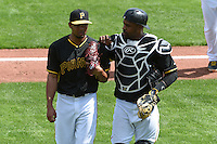 Pittsburgh Pirates pitcher Angel Sanchez (72) and catcher Wilkin Castillo (83) during the Black & Gold intrasquad game on March 2, 2015 at McKechnie Field in Bradenton, Florida.  (Mike Janes/Four Seam Images)