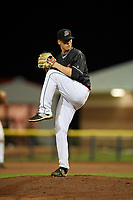 Batavia Muckdogs relief pitcher Chad Martin (35) delivers a pitch during a game against the West Virginia Black Bears on June 18, 2018 at Dwyer Stadium in Batavia, New York.  Batavia defeated West Virginia 9-6.  (Mike Janes/Four Seam Images)