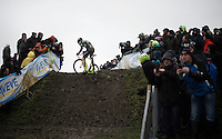 Sven Nys (BEL/Crelan-AAdrinks) almost manages to ride the whole super slippery muddy climb<br /> <br /> Noordzeecross - Middelkerke 2016