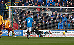 31.3.2018: Motherwell v Rangers: <br /> Curtis Main scores from the penalty spot