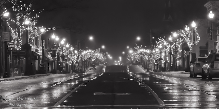 Looking Along Lakeshore In Downtown Oakville At The Christmas Street Lights Black White
