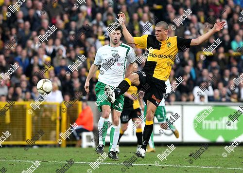2010-03-20 / Voetbal / seizoen 2009-2010 / K. Lierse SK - KVSK United / Jeroen Ketting (L, KVSK) met Seth de Witte..Foto: Mpics