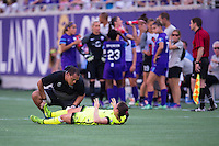 Orlando, Florida - Sunday, May 8, 2016: Seattle Reign FC defender Lauren Barnes (3) is tended to by a trainer during a National Women's Soccer League match between Orlando Pride and Seattle Reign FC at Camping World Stadium.