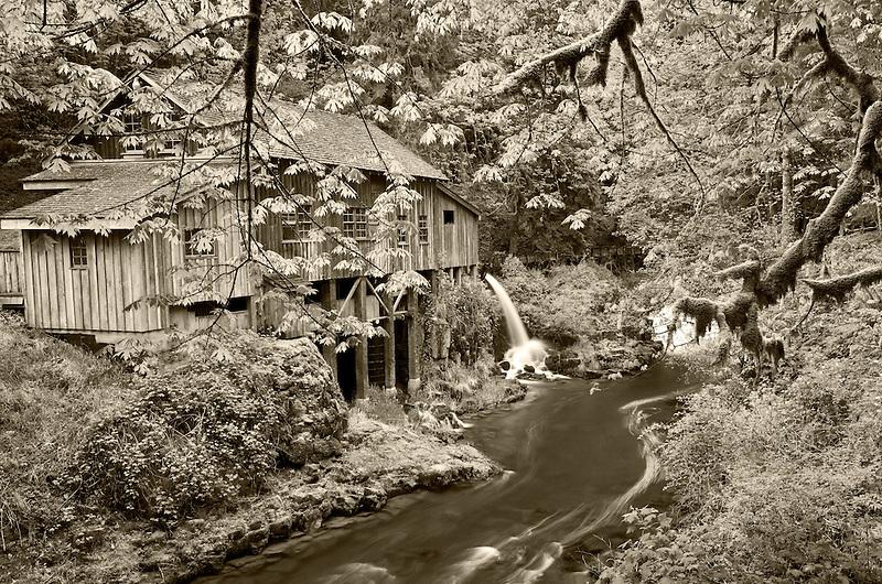 Cedar Creek Grist Mill in spring. Woodland, Washington