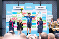 Picture by SWpix.com - 03/05/2018 - Cycling - 2018 Tour de Yorkshire - Stage 1: Beverley to Doncaster - Harry  Tanfield of Canyon Eisberg celebrates in The Combative Riders Jersey