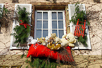 festive restaurant window with Christmas decorations. Petit France, Strasbourg Alsace.
