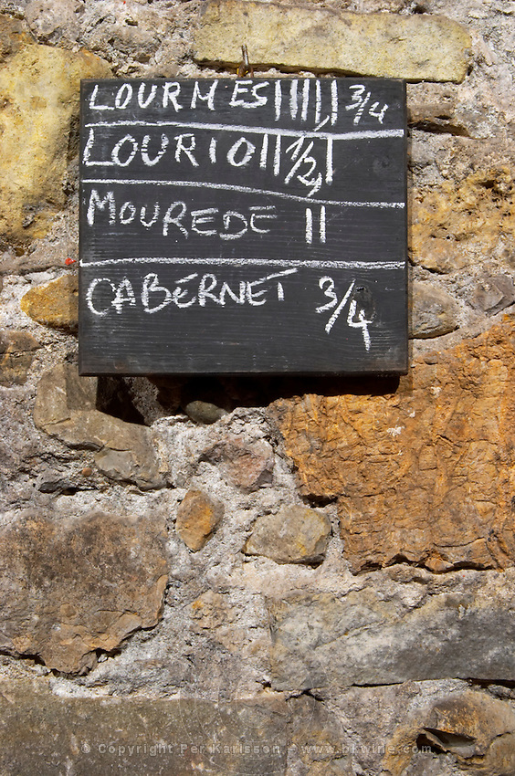 Lourmes, Louriol, Mourvedre, Cabernet. Chateau Pech-Latt. Near Ribaute. Les Corbieres. Languedoc. Concrete fermentation and storage vats. Sign on tank. France. Europe.