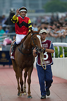 SHA TIN,HONG KONG-MAY 07: Lucky Bubbles,ridden by Hugh Bowman, after winning the Chairman's Sprint Prize at Sha Tin Racecourse on May 7,2017 in Sha Tin,New Territories,Hong Kong (Photo by Kaz Ishida/Eclipse Sportswire/Getty Images)