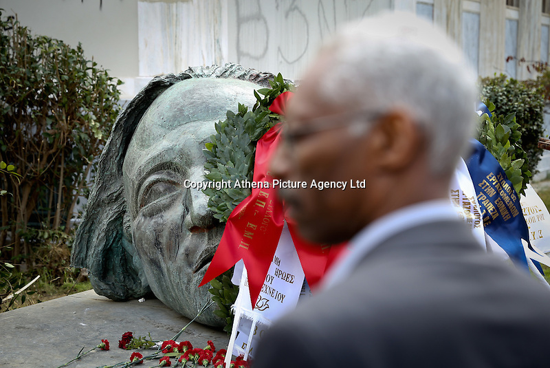 Pictured: The uprising monument at the Athens Polytechinc in Athens Greece. Wednesday 16 November 2016<br /> Re: 43rd anniversary of the Athens Polytechnic uprising of 1973 which was a massive demonstration of popular rejection of the Greek military junta of 1967–1974. The uprising began on November 14, 1973, escalated to an open anti-junta revolt and ended in bloodshed in the early morning of November 17 after a series of events starting with a tank crashing through the gates of the Polytechnic.
