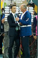 Brazil head coach Luiz Felipe Scolari shakes hands with Croatia head coach Niko Kovac