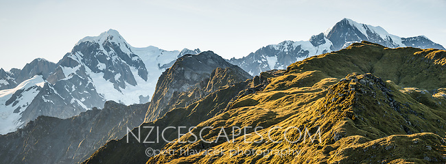 Highest peaks of Southern Alps, Mount Tasman on left 3,497m and Aoraki, Mount Cook 3,724m right from Mt. Fox, Westland Tai Poutini National Park, West Coast, UNESCO World Heritage Area, New Zealand, NZ