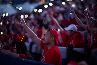 SHANGHAI - OCTOBER 6: Fans switch on the torches in their phones during a fan experience starring Roger Federer of Switzerland before the start of the Rolex Shanghai Masters at Qi Zhong Tennis Centre on October 6, 2018 in Shanghai, China