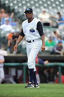 Trenton Thunder manager Tony Franklin (18) during game against the Harrisburg Senators at ARM & HAMMER Park on July 31, 2013 in Trenton, NJ.  Harrisburg defeated Trenton 5-3.  (Tomasso DeRosa/Four Seam Images)