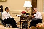 Washington, DC - May 15, 2009 -- United States President Barack Obama meets with former Secretary of State, General Colin Powell, in the Oval Office, May 15, 2009. .Mandatory Credit: Pete Souza - White House via CNP