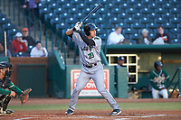 Orlando Garcia (23) of the Augusta GreenJackets at bat against the Greensboro Grasshoppers at First National Bank Field on April 10, 2018 in Greensboro, North Carolina.  The GreenJackets defeated the Grasshoppers 5-0.  (Brian Westerholt/Four Seam Images)