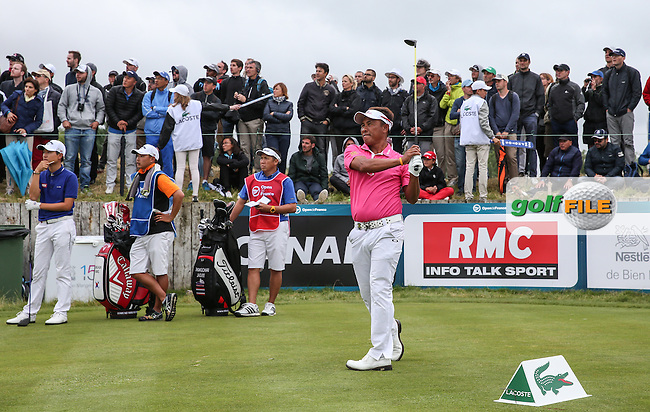 Thongchai Jaidee (THA) plays down the last during the Final Round of the 100th Open de France, played at Le Golf National, Guyancourt, Paris, France. 03/07/2016. Picture: David Lloyd | Golffile.<br /> <br /> All photos usage must carry mandatory copyright credit (&copy; Golffile | David Lloyd)