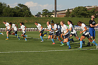 Piscataway, NJ - Saturday July 23, 2016: Sky Blue FC players prior to a regular season National Women's Soccer League (NWSL) match between Sky Blue FC and the Washington Spirit at Yurcak Field.