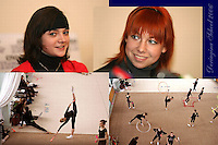 (L-R) Anna Bessonova and Natalya Godunko of Ukraine smile during press interview and (Lowr L-R) the Deriugina School trains before 2006 Deriugina Cup Grand Prix in Kiev, Ukraine on March 14, 2006.<br />