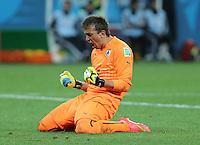 Uruguay Goalkeeper Fernando Muslera celebrates Suarez winner