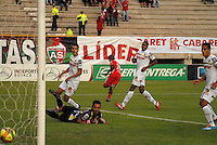 TUNJA - COLOMBIA -13 -03-2014: Carlos Renteria (CenT.) jugador de Patriotas FC, celebra el gol anotado al Alianza Petrolera, durante partido por la fecha 12 de la Liga Postobon I-2014, jugado en el estadio La Independencia de la ciudad de Tunja. / Carlos Renteria, player of Patriotas FC, celebrates a goal scored to Alianza Petrolera, during a match for the date 12th of the Liga Postobon I-2014 at the La Independencia  stadium in Tunja city, Photo: VizzorImage  / Jose M. Palencia / Str. (Best quality available)