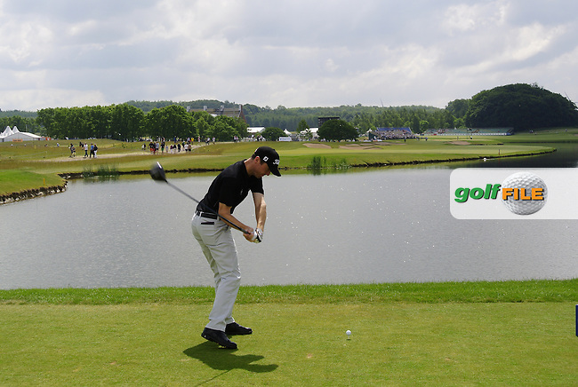 Michael Hoey (NIR) tees off the 9th tee during Sunday's Final Round of the 2014 Nordea Masters held at the PGA of Sweden National Lakes Course, Malmo, Sweden.1st June 2014.<br /> Picture: Eoin Clarke www.golffile.ie